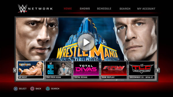 WWE Network PlayStation App