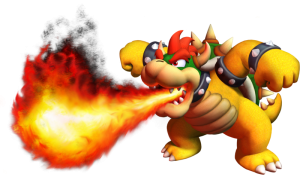 Bowser, the King of Koopas, breathes fire